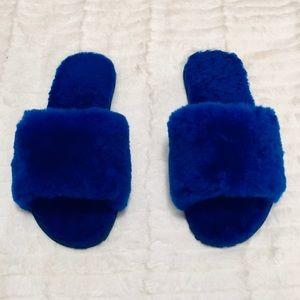 NEW Millffy Wool Fur House Slippers — Cobalt Blue